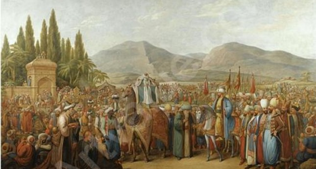 """""""The Arrival of the Mahmal at an Oasis en Route to Mecca"""" by Georg Emanuel Opiz."""