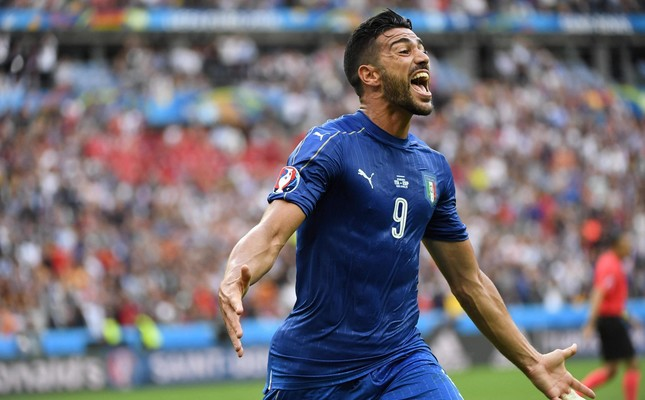 Graziano Pelle of Italy celebrates after scoring the 2-0 goal during the UEFA EURO 2016 round of 16 match between Italy and Spain at Stade de France in St. Denis, France, 27 June 2016. (EPA Photo)