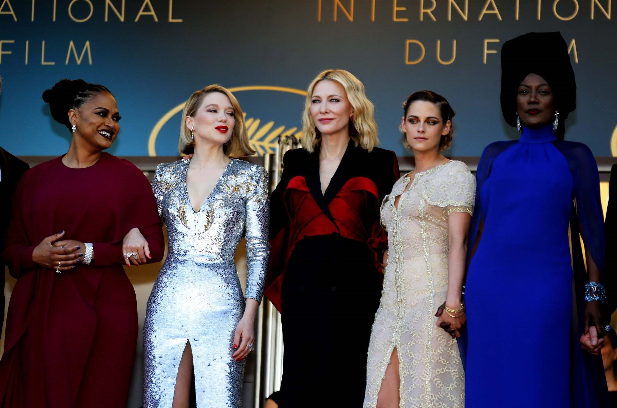 From left to right: Ava DuVerna, Lea Seydoux, Cate Blanchett, Kristen Stewart and Khadja Nin.