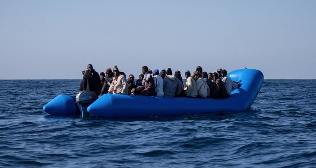 An inflatable boat with 47 migrants on board is pictured off Libya's coasts, Jan. 19, 2019.