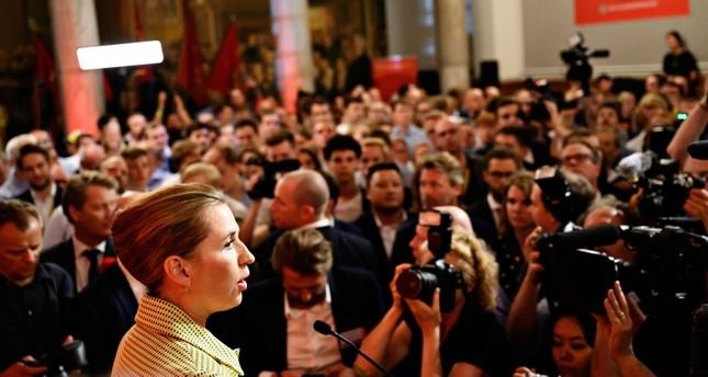 Opposition leader Mette Frederiksen of The Danish Social Democrats speaks to the media at Christiansborg Castle in Copenhagen, Denmark Wednesday, June 5, 2019. (Philip Davali/Ritzau Scanpix via AP)