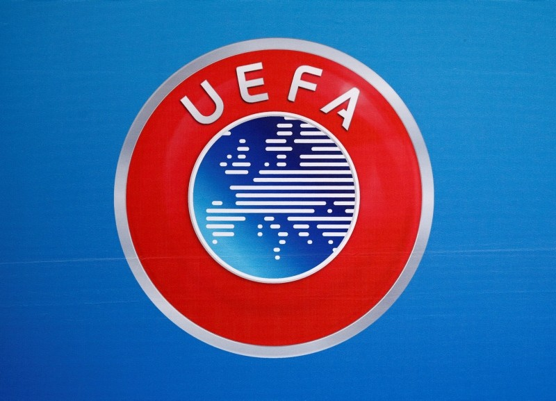 A logo is pictured on a backdrop before a news conference after an UEFA Executive Board meeting in Nyon, Switzerland, December 9, 2016. (Reuters Photo)