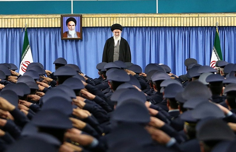 Iran's Supreme Leader Ayatollah Ali Khamenei arrives to deliver a speech in a meeting with military commanders in Tehran, Iran (Reuters Photo)