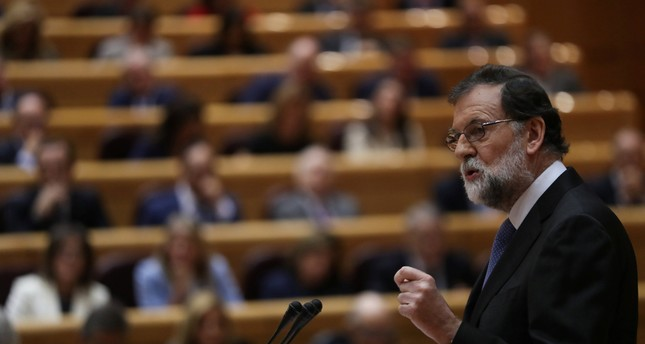 Spain's Prime Minister Mariano Rajoy delivers his speech during a debate at the upper house Senate in Madrid, Spain, October 27, 2017. (REUTERS Photo)