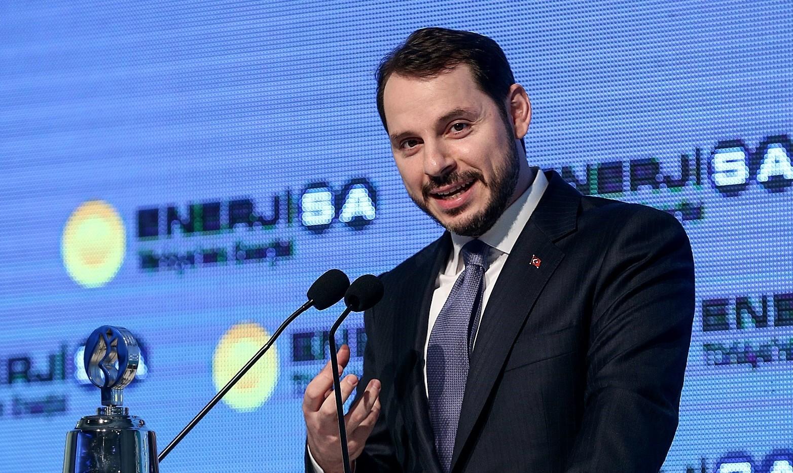 Energy Minister Albayrak speaks at the public offering ceremony of Turkeyu2019s Enerjisa at the Borsa Istanbul, Feb. 8.