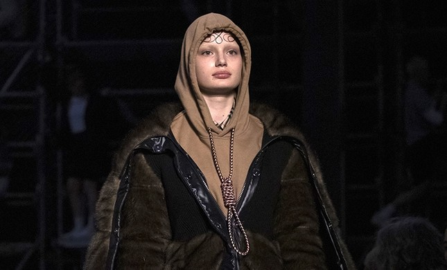 This Feb. 17, 2019, photo shows a model wearing a creation by Burberry at the Autumn/Winter 2019 fashion week runway show in London. (AP Photo)