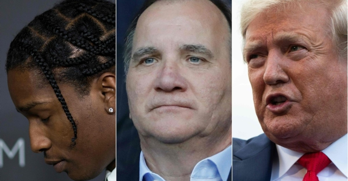 Artist ASAP Rocky (L) in Los Angeles on October 29, 2016, Swedish Prime minister Stefan Lofven (C) in Paris on June 24, 2019 and US President Donald Trump (R) at the White House in Washington, DC on July 24, 2019. (Photos by AFP)
