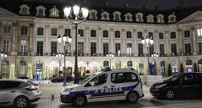 A police car is parked in front of the main entrance of the Ritz where a burglary happened in Paris, France, Jan. 10, 2018. (EPA Photo)