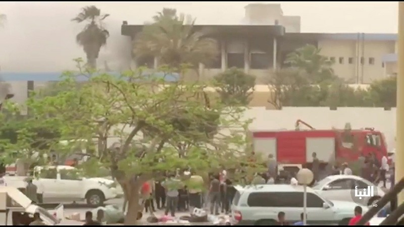The site of suicide attack on Libyan electoral commission is seen in Tripoli, Libya, May 2, 2018, in this still picture obtained from social media video. (Reuters Photo)