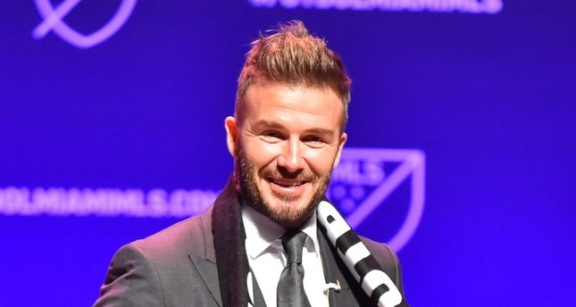 David Beckham addresses the crowd during the press conference announcing an MLS franchise in Miami at the Knight Concert Hall.