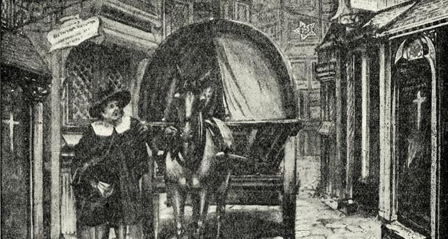 رسم يمثل عربة الموت التي كانت تنقل ضحايا الطاعون في لندن