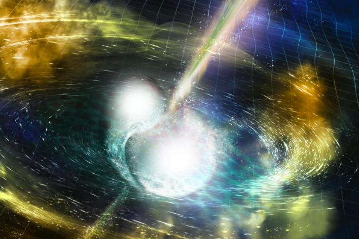 An artistu2019s illustration of two merging neutron stars. The rippling space-time grid represents gravitational waves that travel out from the collision, while the narrow beams show the bursts of gamma rays (Reuters Photo)