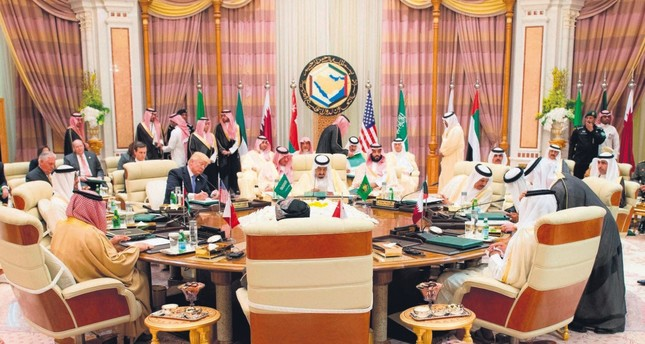 U.S. President Donald Trump and leaders of Gulf countries attend the opening session of the Gulf Cooperation Council summit, in Riyadh, Saudi Arabia, March 21, 2017.