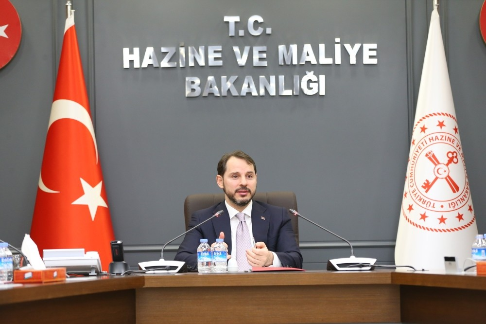 Treasury and Finance Minister Berat Albayrak speaks during his meeting with press members in Ankara, Feb. 6, 2019.