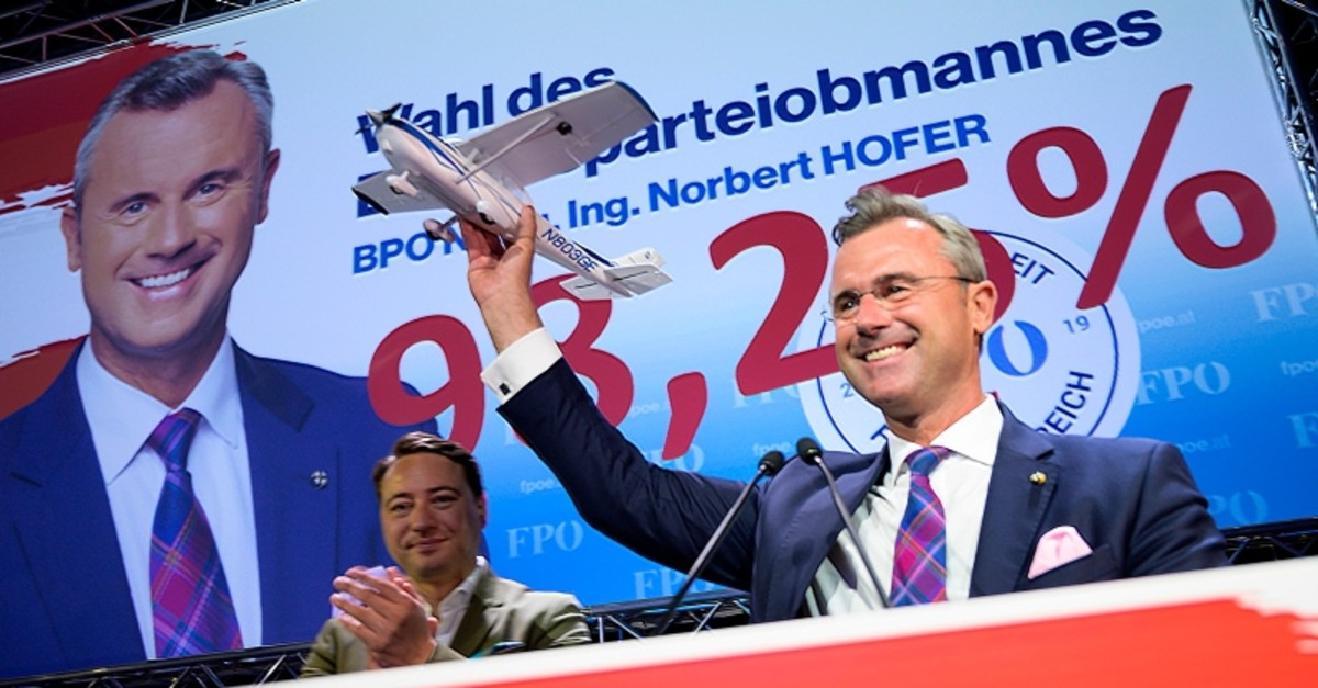 Federal Party Chairman of FPu00d6 Norbert Hofer celebrates shortly after being elected as party leader during the 33rd Ordinary Federal Party Congress in the Graz , Austria on September 14 , 2019. (AFP Photo)