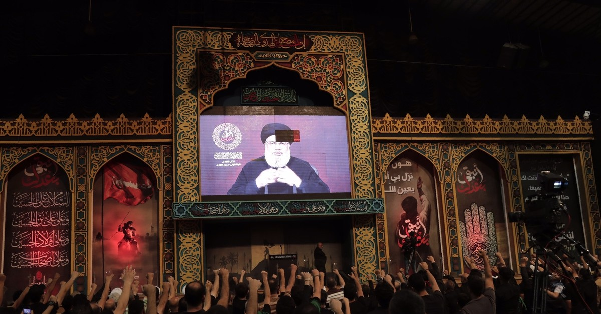 Supporters of the Lebanese Shiite Hezbollah movement gather to watch the transmission of a speech by the movementu2019s leader Hasan Nasrallah, Beirut, Aug. 31, 2019.
