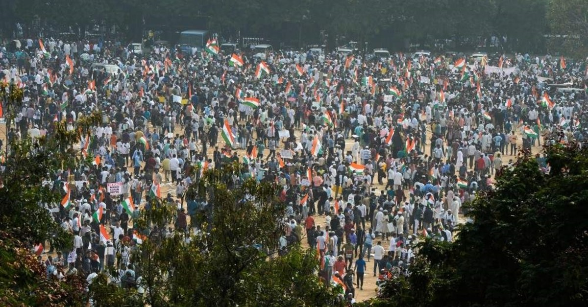 Protesters take part in a demonstration against India's new citizenship law in Hyderabad on Jan. 4, 2020. (AFP Photo)