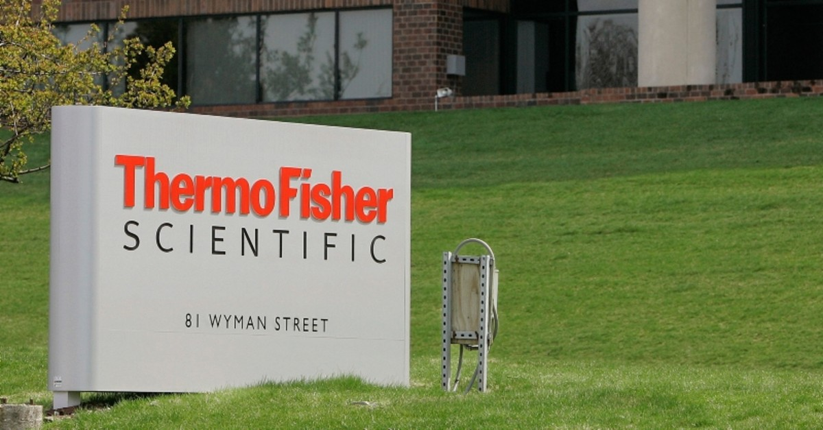 This April 26, 2007, file photo, shows the exterior of Thermo Fisher Scientific Inc., of Waltham, Mass. (AP Photo)