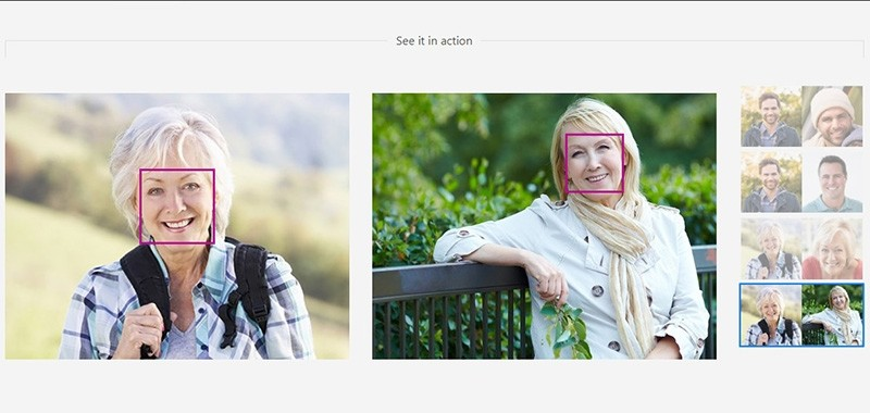 Screenshot from the website of Microsoft Azure facial recognition system.