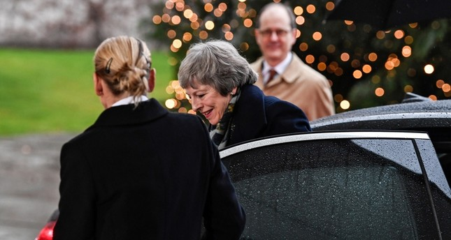 British Prime Minister Theresa May arrives to meet German Chancellor Angela Merkel (unseen) at the Chancellery in Berlin, Germany, December 11, 2018. (EPA Photo)