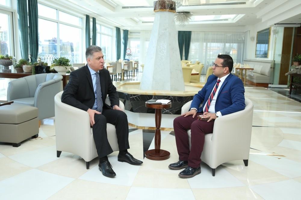Daily Sabahu2019s Ali u00dcnal (R) with Iraqi Turkmen Front Leader Ershad Salihi. (Photo by Ali Ekeyu0131lmaz)
