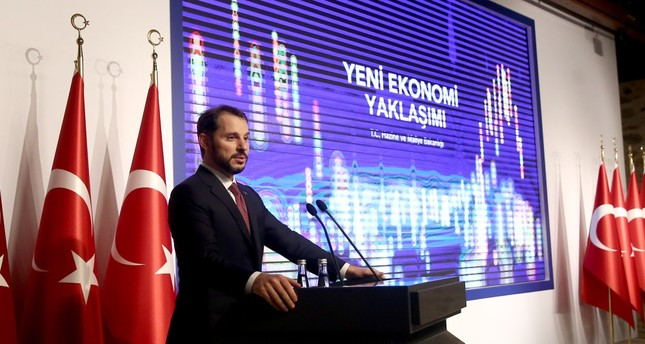 Treasury and Finance Minister Berat Albayrak speaks during a presentation of the government's new economic approach, Istanbul, Aug. 10.