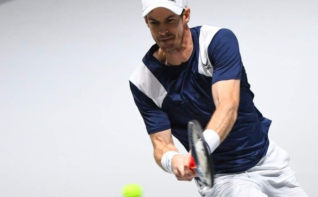 Murray returns the ball to Griekspoor during the singles tennis match at the Davis Cup Madrid Finals, Nov. 20, 2019. AFP Photo