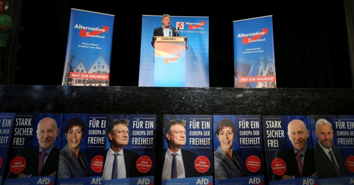 Joerg Meuthen, candidate of Germany's anti-immigration party Alternative for Germany (AfD) attends a final campaign event ahead of the EU election in Frankfurt, Germany May 24, 2019 (Reuters Photo)