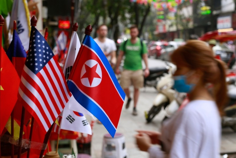 In this Jan. 29, 2019, photo, U.S and North Korean flags are on display for sale at a flag shop in Hanoi, Vietnam. (AP Photo)