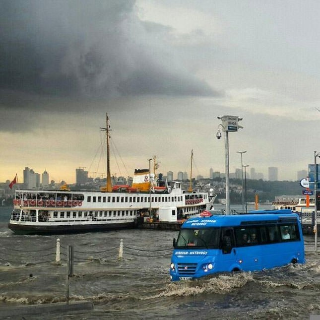 Sea meets land after down pour in Istanbul