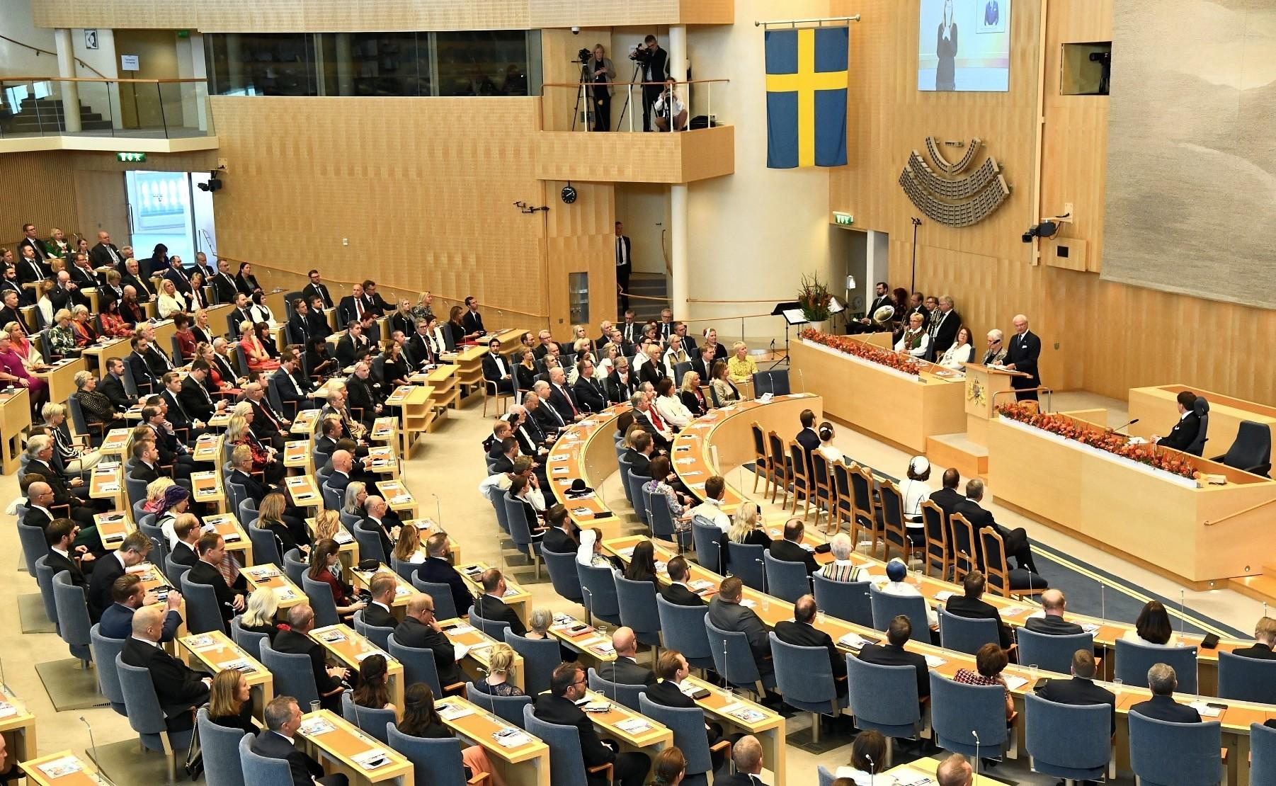Swedenu2019s King Carl Gustaf speaks during the opening of parliament, Stockholm, Sept. 25.