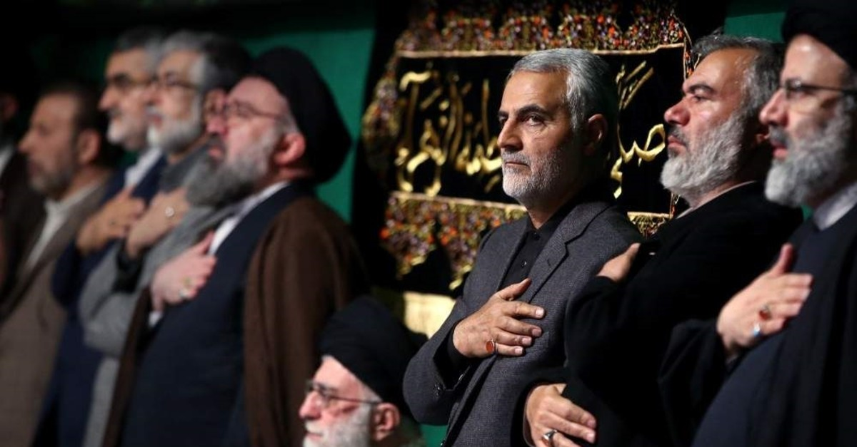 The commander of the Iranian Revolutionary Guard's Quds Force, Gen. Qasem Soleimani (3rd from R), attends a religious ceremony, Tehran, March 27, 2015. (AFP Photo)