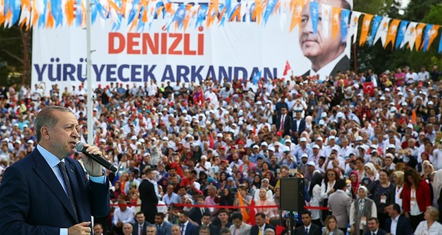 President Erdoğan speaking to the public in Turkey's Denizli province on Saturday August 19, 2017. (AA Photo)
