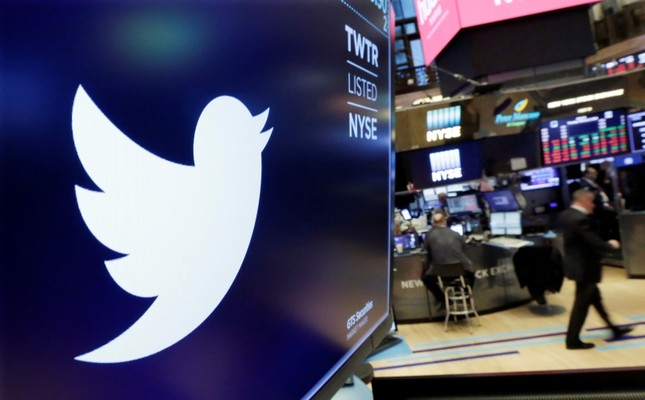 In this Feb. 8, 2018 file photo, the logo for Twitter is displayed above a trading post on the floor of the New York Stock Exchange. (AP Photo)
