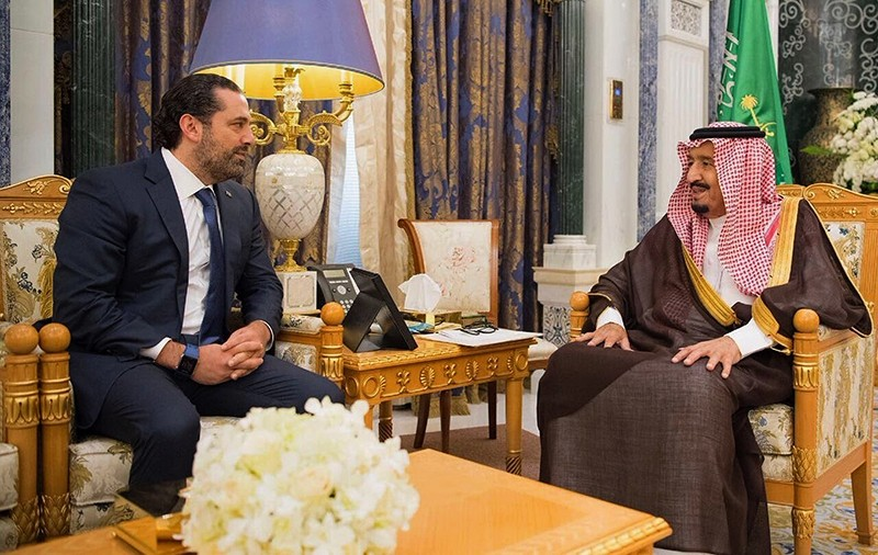 In this photo provided by the Saudi Press Agency, Saudi King Salman, right, meets with outgoing Lebanese Prime Minister Saad Hariri in Riyadh, Saudi Arabia, Monday, Nov. 6, 2017. (AP Photo)