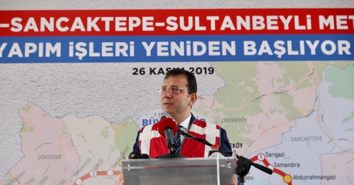 Istanbul Mayor Ekrem u0130mamou011flu speaking at the ceremony in Istanbul, Nov. 26. 2019. (AA Photo)