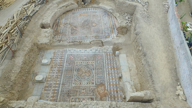 Aerial view of the ancient gymnasium discovered in Turkey's southwestern Konya province (IHA Photo)