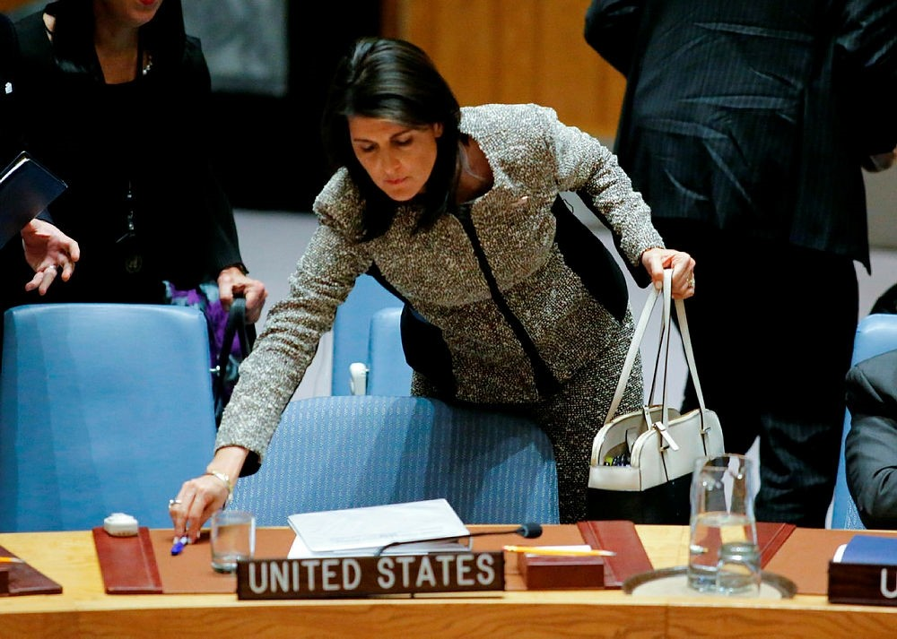 U.S. Ambassador to the U.N. Nikki Haley laves after a U.N. Security Council emergency meeting over launch of another ballistic missile by the Democratic People's Republic of Korea at U.N. Headquarters in New York, NY, U.S., Nov. 29, 2017. (AFP Photo)