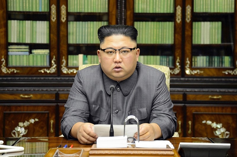 In this Thursday, Sept. 21, 2017, photo distributed on Friday, Sept. 22, 2017, by the North Korean government, North Korean leader Kim Jong Un delivers a statement in response to U.S. President Donald Trump (AP Photo)
