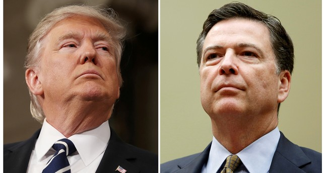 A combination photo shows U.S. President Donald Trump (L) in the House of Representatives in Washington, U.S., on February 28, 2017 and FBI Director James Comey in Washington U.S. on July 7, 2016. (REUTERS Photo)