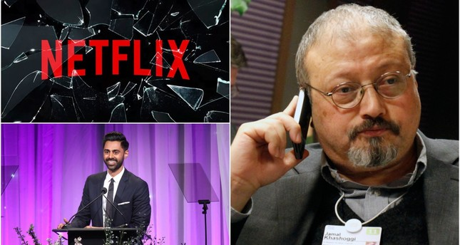 In the episode, Hasan Minhaj (bottom left) criticized Saudi Arabia after the killing of Jamal Khashoggi (R) in the Saudi consulate in Istanbul. (REUTERS/AP Photos)