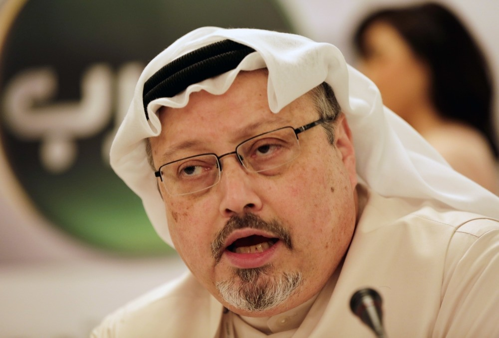 Jamal Khashoggi, who recently went missing after visiting the Saudi consulate in Istanbul, seen here speaking at a news conference in his role as general manger of an Arabic news channel, in Manama, Bahrain, Dec. 15, 2014.