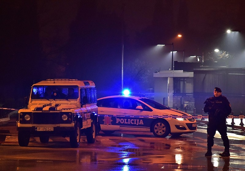 Police block off the area around the U.S. Embassy in Montenegro's capital Podgorica, Thursday, Feb. 22, 2018. (AP Photo)