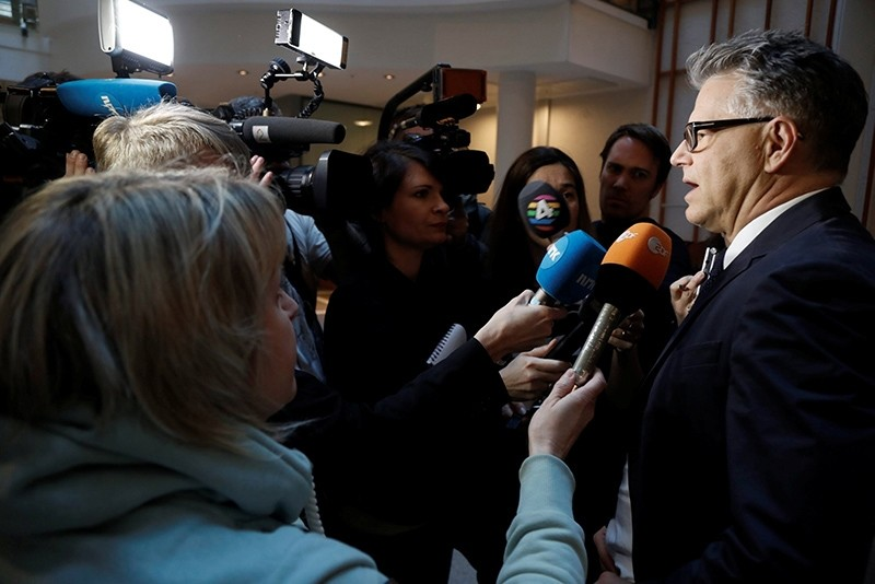Norwegian mass killer Anders Behring Breivik's lawyer Oystein Storrvik speaks to the press in Oslo, Norway March 1, 2017  (Reuters Photo)