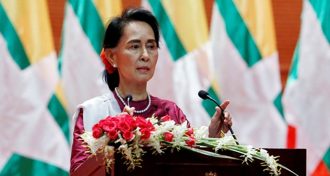 Myanmar's Aung San Suu Kyi delivers a televised speech to the nation at the Myanmar International Convention Center in Naypyitaw, Sept. 19.