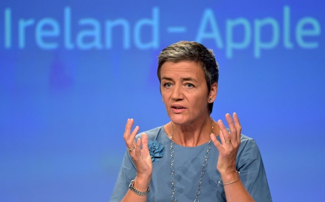 European Commissioner Margrethe Vestager gestures during a news conference on Ireland's tax dealings with Apple Inc at the European Commission in Brussels.