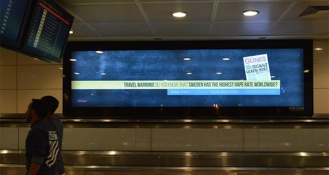 Istanbul airport ad warns travelers of Sweden's high rape rate