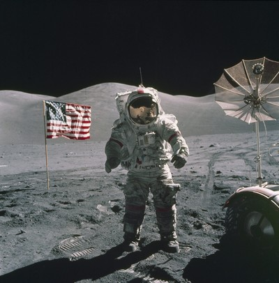 |Eugene Cernan standing near the lunar rover on the moon on 12 Dec. 1972