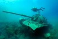 Model tank submerged underwater in Turkey's Antalya for tourist dive
