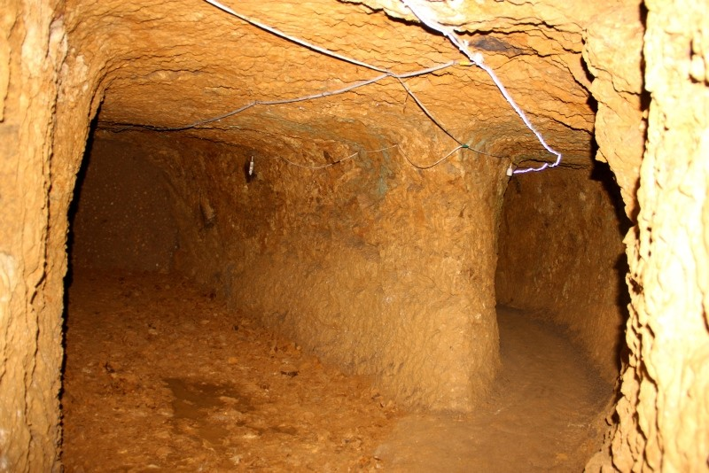 Photo shows underground tunnels and a room discovered in the ancient underground city in Bayburt. (DHA Photo)